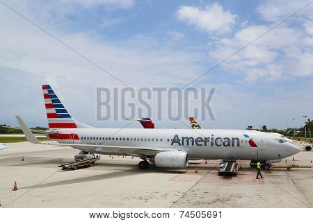American Airlines Boeing 737 at Owen Roberts International Airport at Grand Cayman