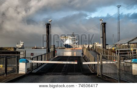 Ferry From Esbjerg To Fano In The Oil Harbor