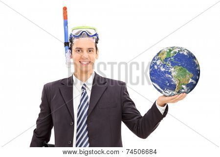 Businessman with diving mask holding the earth and standing isolated on white background, Earth image in Public Domain and furnished by NASA