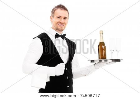 Professional waiter holding a tray with a champagne and two glasses on it isolated on white background
