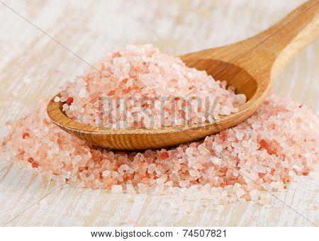 Pink Salt In A  Wooden Spoon