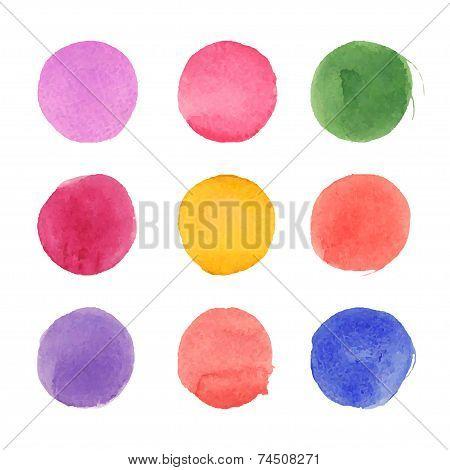 Vector set of watercolor circles