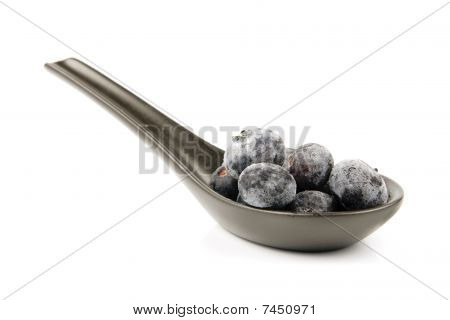 Frozen Blueberries On A Spoon