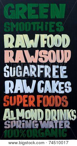 Organic food announcement