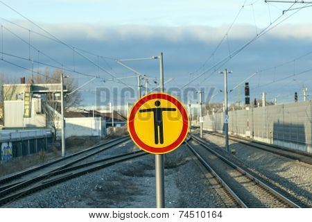 Sign Beware Of Trespassing At Train Station