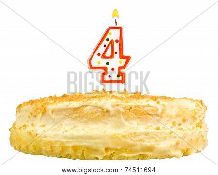 Birthday Cake With Candles Number Four Isolated On White