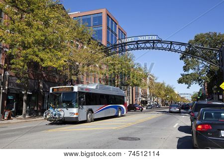 COLUMBUS, OHIO-OCTOBER 12, 2014:  The Short North area of Columbus is prime attraction for shopping and dining close to downtown.