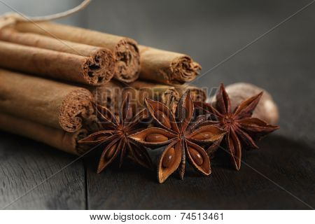 Bunch Of Cinnamon Sticks With Nutmeg And Anise Star