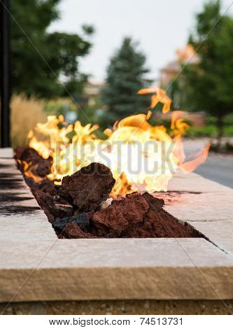 Fire In Outdoor Fire Pit