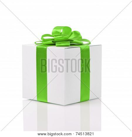 Gift Box With Handmade Green Ribbon Bow