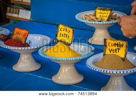 Spices On Sale By Weight At A Shop In The Old Souq In Tunis, Tunisia