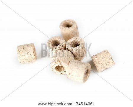Macro Of White Ceramic Noodles Filter Media For Aquarium Canister Filters