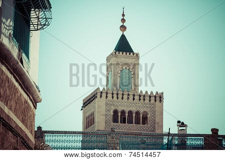 Tunisia. Minaret Of The Great Mosque (zitouna,