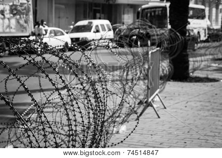Barbed Wire On The Streets Of Capital On Tunis City, Tunisia, Africa