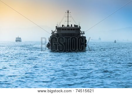 Freight Ship at Wide Sea