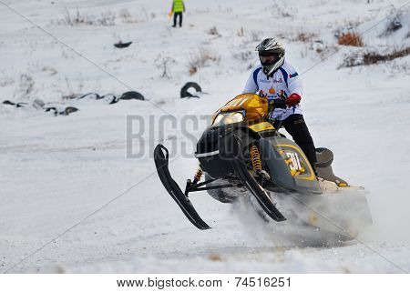 Sport snowmobile race on track