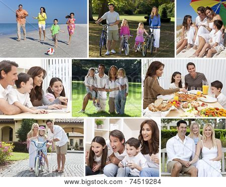 Montage happy families parents children boys girls enjoying an active lifestyle holiday vacation, cycling, beach, playing, swimming pool, eating healthy food, video games & using laptop computer