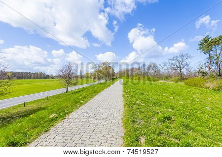 Levee With Sandy Path To Beach At Baltic Sea