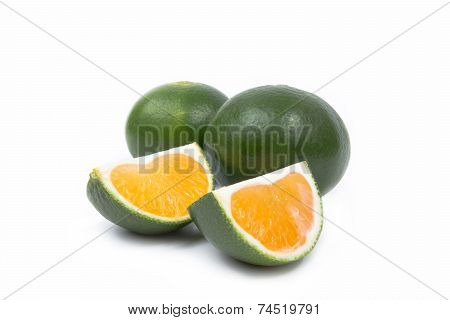 Two Sliced Mandarins On White Background