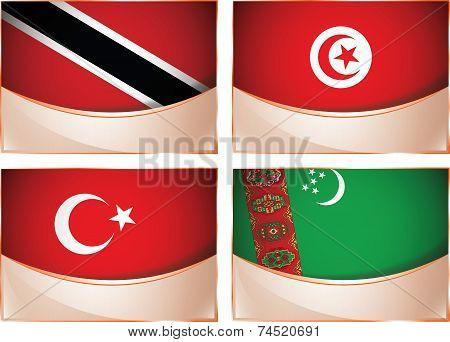 Flags illustration, Trinidad and Tobago, Tunisia, Turkey, Tu