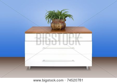 Modern White Wooden Chest Of Drawers