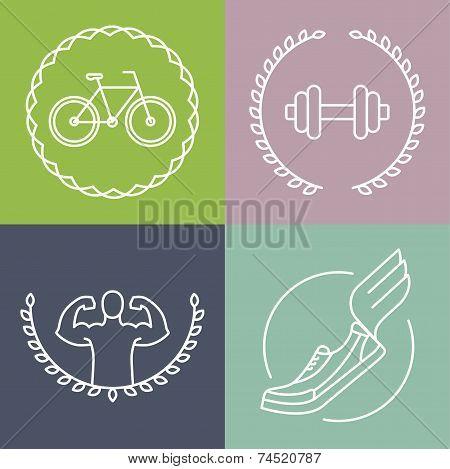 Vector Sport Logos In Outline Style
