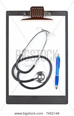 Medical Clipboard With Stethoscope And Pen