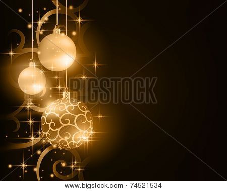 Border with golden, desaturated Christmas balls hanging over a scroll background pattern with stars and light effects on a dark brown background. Vivid and festive.