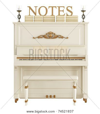 Upright Piano Isolated On White