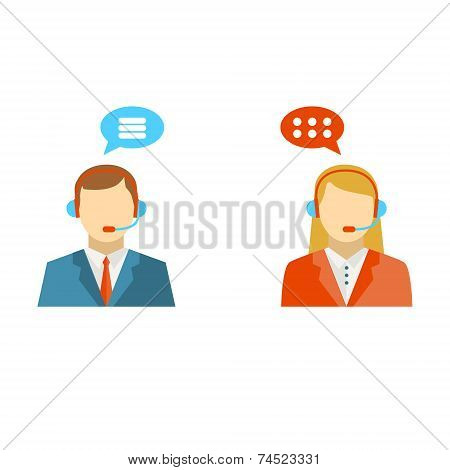 Male And Female Call Center Icons