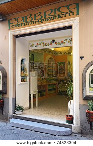 Sorrento, Italy -10 September 2014: Limoncello Factory In The Historic Center Of Sorrento, On Septem