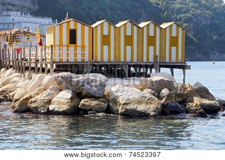 The Small Haven With Fishing Boats And Colorfull Houses Is Locat
