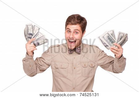 Cheerful young man with soft money