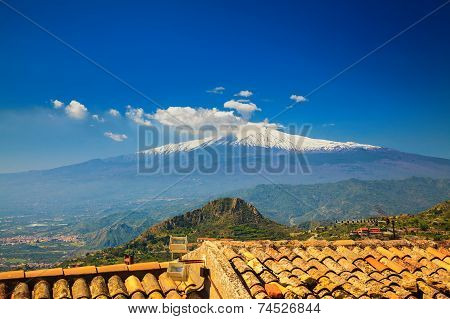 Etna Mountain From The Town Castelmola