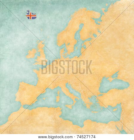 Map Of Europe - Iceland (vintage Series)