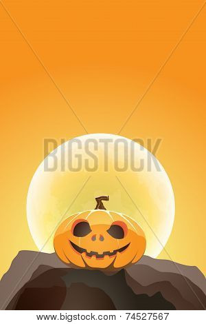 Halloween Pumpkin In Moon Light On A Rock