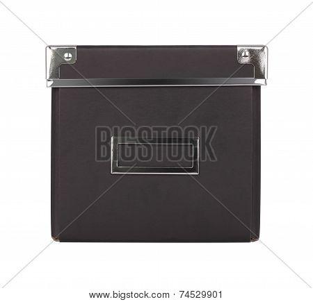 Front of black carton box iron corner on white background.