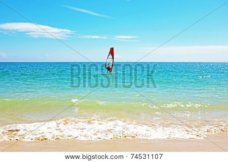 Windsurfing on the atlantic ocean near Lagos Portugal
