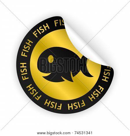 Vector Fish Meat Bent Sticker