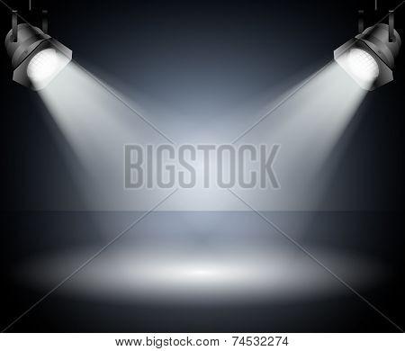 Dark Background With Spotlights. Studio.