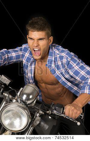 Man Blue Shirt Motorcycle Black Scream Close