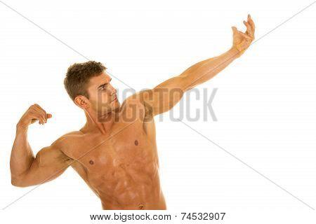 Man No Shirt Flex Arm Out Look Up