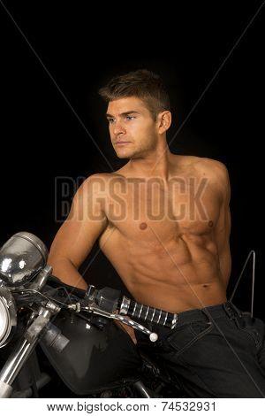 Man No Shirt Motorcycle Black Lean Look Side Close