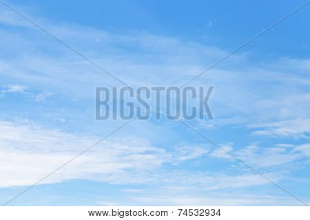 Light Cirrus Clouds In Blue Autumn Sky