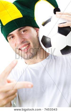 happy young soccer fan