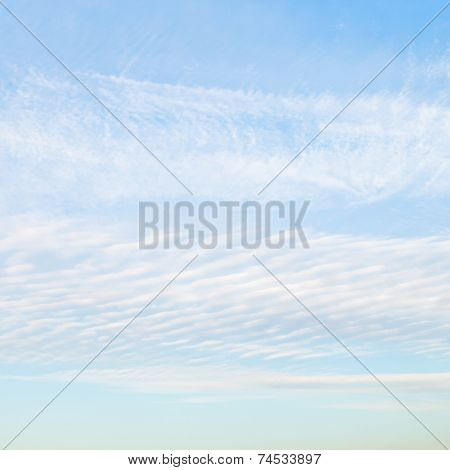 White Cirrus Clouds In Blue Afternoon Sky