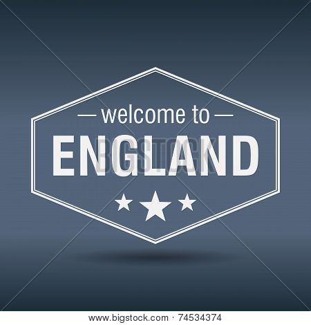 Welcome To England Hexagonal White Vintage Label