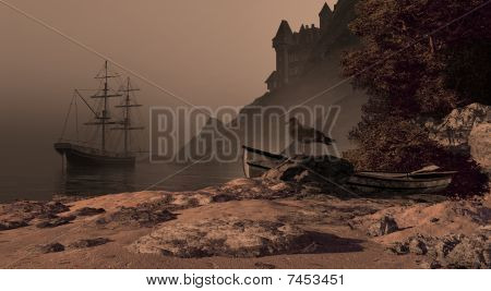 Spanish Brig And Castle