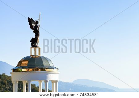 St. Michael The Archangel Statue On Kiosk, Crimea