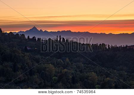 Turin (torino), Sunset On Monviso